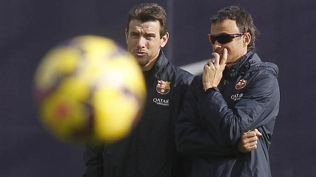 Unzué y Luis Enrique, en un entrenamiento del Barça / FRANCESC ADELANTADO (MARCA)