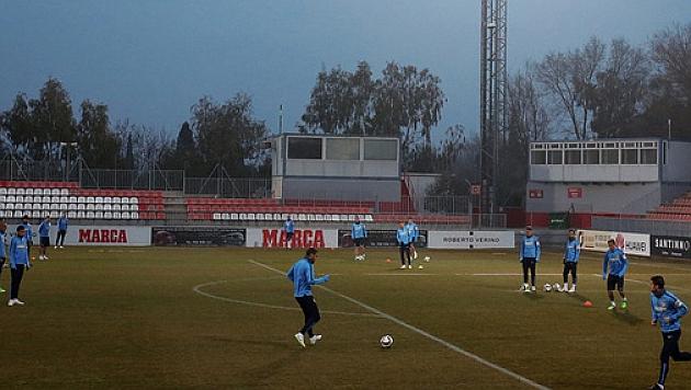 Los jugadores del Atleti en el entrenamiento previo al derbi / clubatleticodemadrid.com