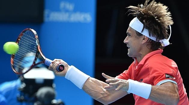 David Ferrer durante su partido ante Kei Nishikori / AFP