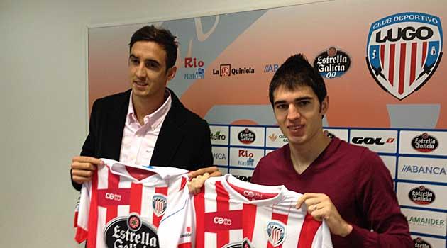 Toni Rodríguez y Pablo Caballero, durante su presentación / Web del C. D. Lugo