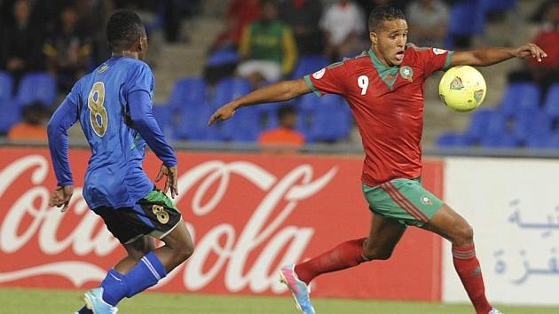 El Arabi en el partido entre Marruecos y Tanzania / AFP