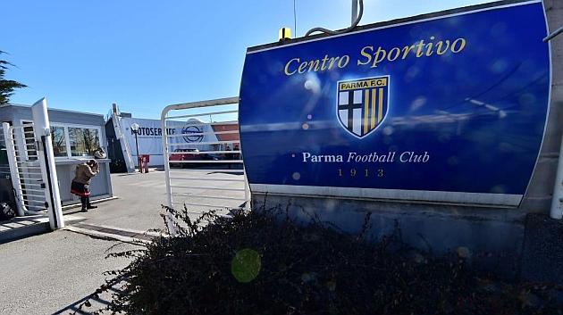 Imagen de la entrada de la ciudad deportiva del Parma. Foto: AFP