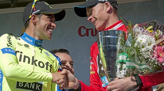 Alberto Contador y Chris Froome en la pasada Vuelta a Andalucía. AFP