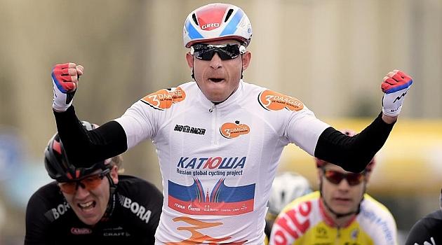 Alexander Kristoff celebra su segundo triunfo. AFP