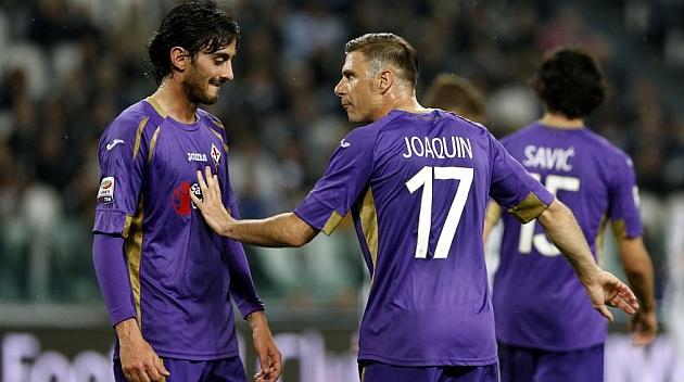 Joaquín y Aquilani, en un partido de la Fiorentina. CHEMA REY