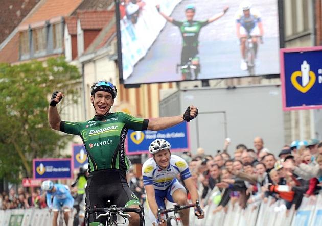 Bryan Coquard celebra su segundo triunfo en 2015. / Afp
