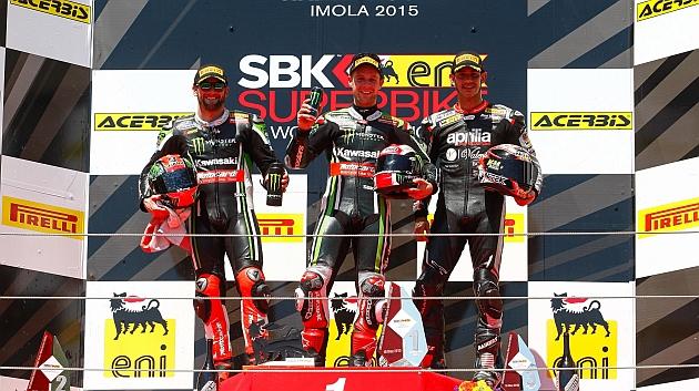 Podio de la segunda carrera en Imola/WorldSBK.com