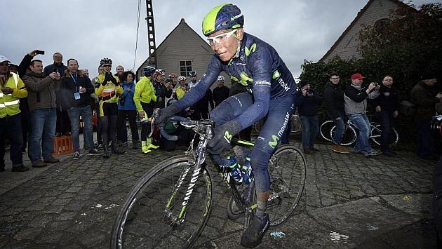 Nairo Quintana, durante la Dwars door Vlaanderen 2015. Foto: MARCA