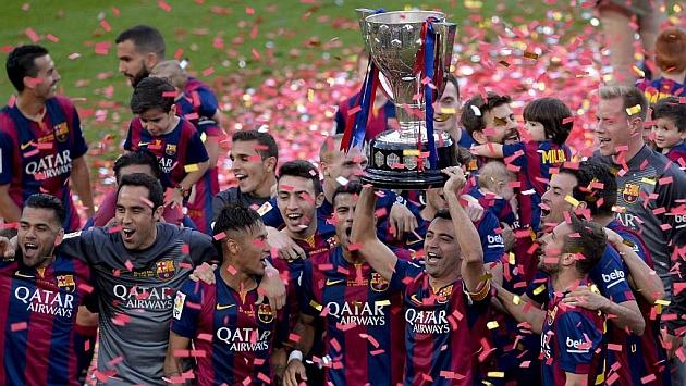 El Barcelona celebra el título liguero. Foto: AFP