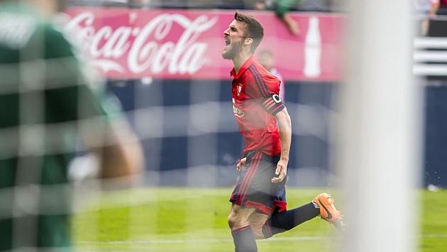 Oier Sanjurjo celebra un gol ante el Albacete / Jesús Caso (Marca)