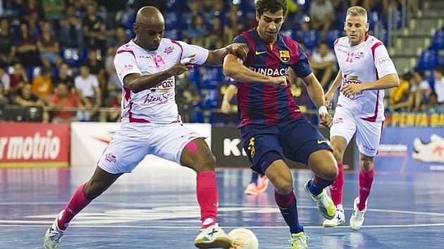 Una imagen del duelo de este miércoles entre el Barcelona y ElPozo. Foto: LNFS.es