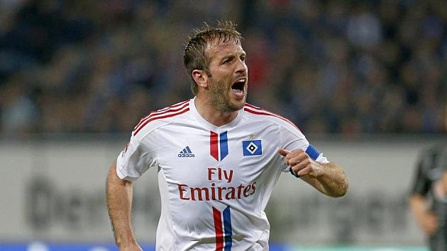 Van der Vaart, celebrando un gol con el Hamburgo