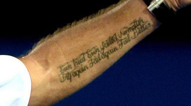 Brazo izquierdo de Wawrinka con su lema tatuado.