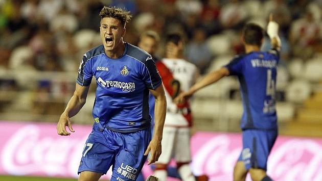 Vigaray durante el partido de Liga entre Rayo y Getafe