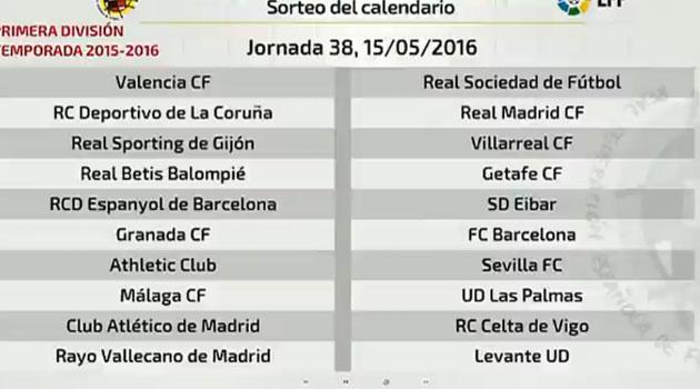 Calendario Del Barca.Liga Bbva Primera Division Calendario Liga Bbva 2015 2016