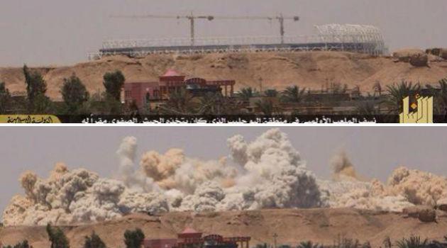 El estadio antes y durante la explosión.