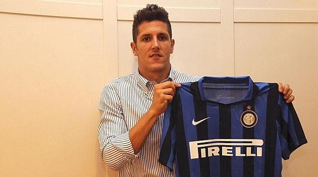 Jovetic, con la camiseta del Inter de Milán.