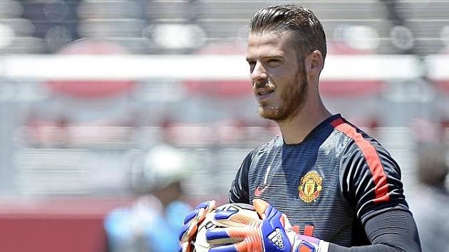 De Gea, en un calentamiento previo a un amistoso con el Manchester United.