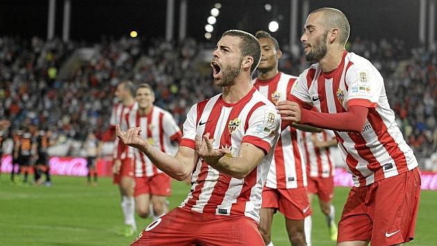 Rodri celebra un gol con el Almería precisamente ante el Valladolid hace dos temporadas