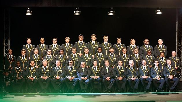 Los jugadores convocados por Sudáfrica posan en el Beverly Hills Hotel de Durban