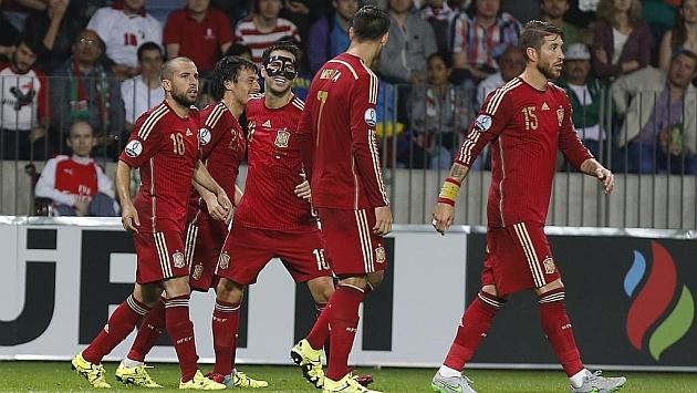 Los jugadores de la selección española, durante el partido contra Costa Rica / FOTO: PABLO GARCÍA