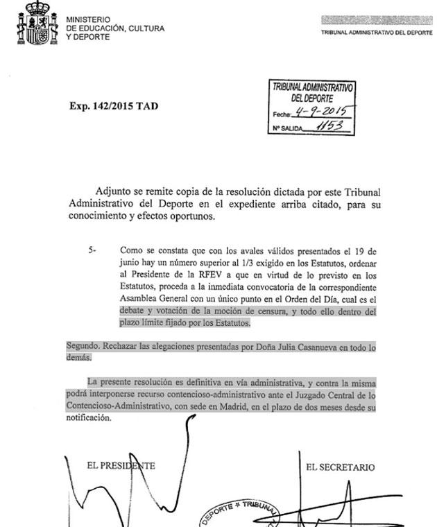 El TAD ordena una Asamblea General para votar la moción de censura contra José Ángel Rodríguez