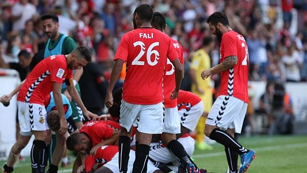 Los jugadores del Nàstic celebran un gol.