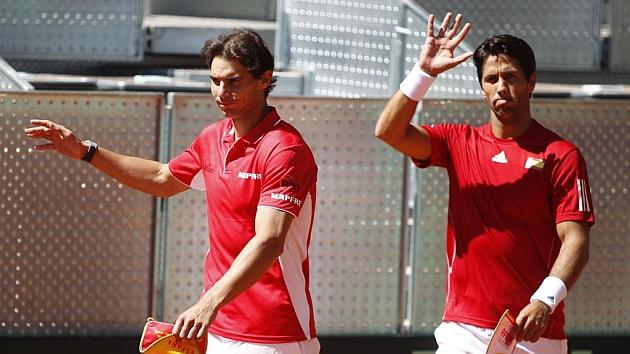 Rafa Nadal y Fernando Verdasco durante una eliminatoria de Copa Davis en Madrid.