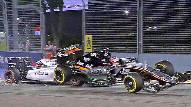 Espectacular choque entre Massa y Hulkenberg