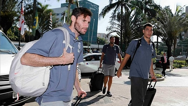 Rudy Fernández, junto a Hernangómez y Felipe Reyes, a su llegada a Sao Paulo