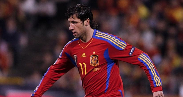 Joan Capdevila, durante un partido con la selección española