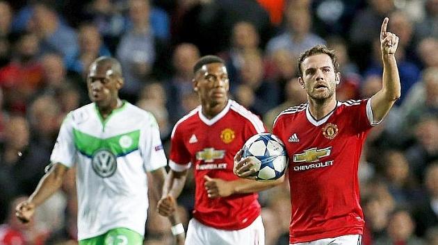 Mata celebra su gol contra el Wolfsburgo / FOTO: REUTERS