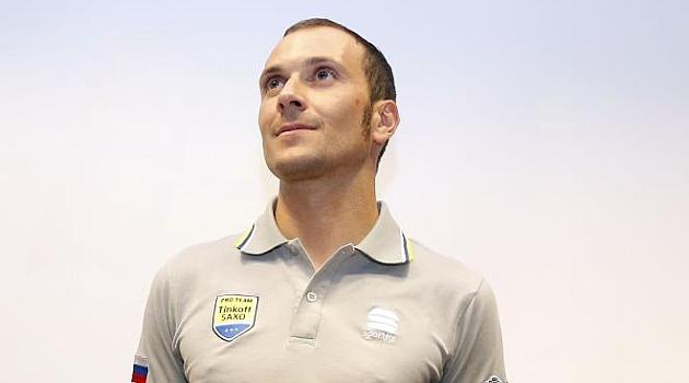 Ivan Basso durante la presentación de la Carrera Cicloturista de Valencia.
