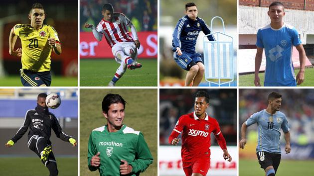Santos Borré, Derlis González, Kranevitter y Joao Rojas (arriba); Murillo, Gamarra, Renato Tapia y De Arrascaeta (abajo)