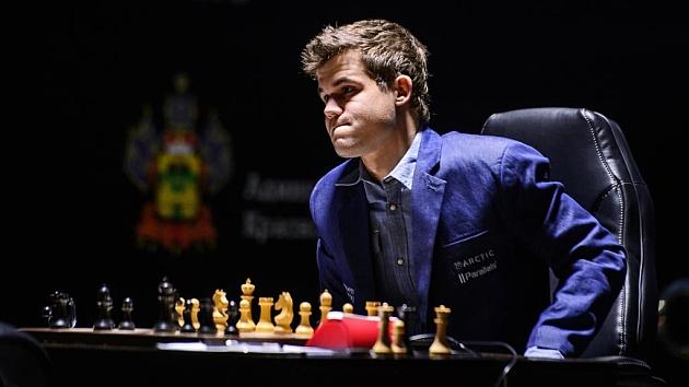 Magnus Carlsen durante el Campeonato del Mundo del año pasado.