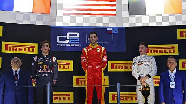 Podio de la primera carrera de GP2 en Sochi (Rossi, Gasly y Vandoorne)