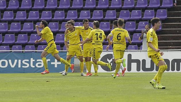 Jugadores del Oviedo celebrando un gol en el José Zorrilla.
