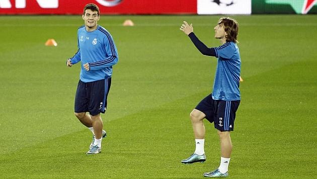 Kovacic y Modric, en el entrenamiento de París.