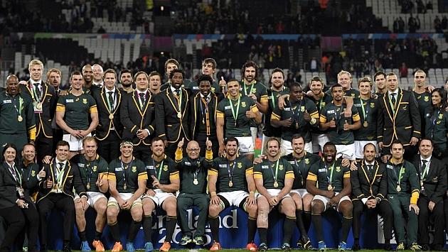 Los 'Springbok's celebran su medalla de bronce en el Olimpyc Stadium de Londres