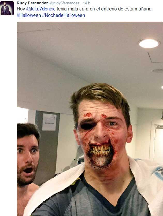 El brutal disfraz de Doncic que provoca pavor en Rudy por Halloween