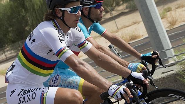 Sagan y Nibali, durante el pasado Tour de Abu Dabi.
