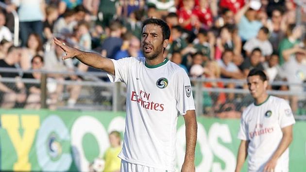 Raúl durante un partido conel Cosmos