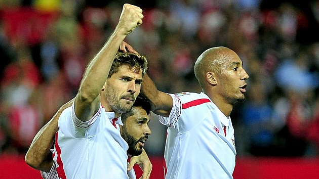 Llorente celebra su gol al Real Madrid. KIKO HURTADO