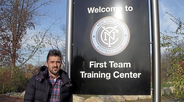 Villa, en el campo de entrenamiento de NY City.