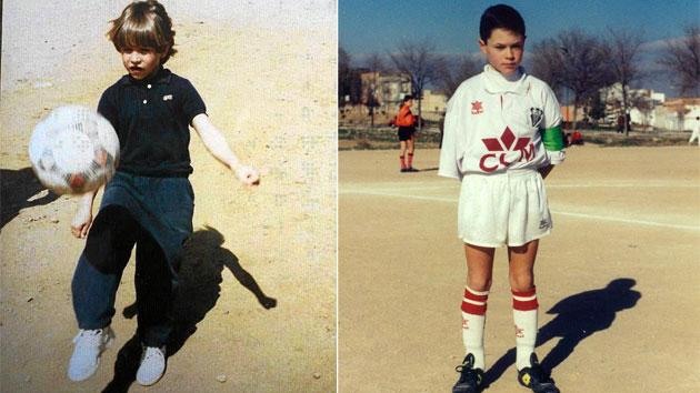 Sergio Ramos y Andrés Iniesta, en sus inicios sobre tierra.