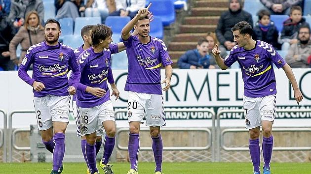 El Valladolid celebra un gol ante el Zaragoza. Foto: Toni Galán (MARCA).