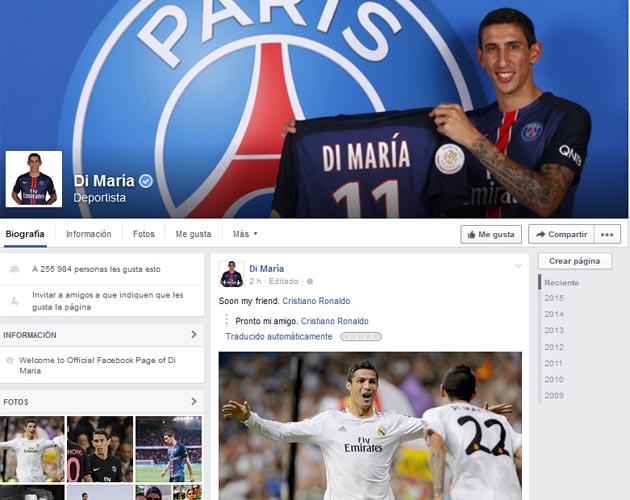 Hackean la cuenta de Facebook de Di María