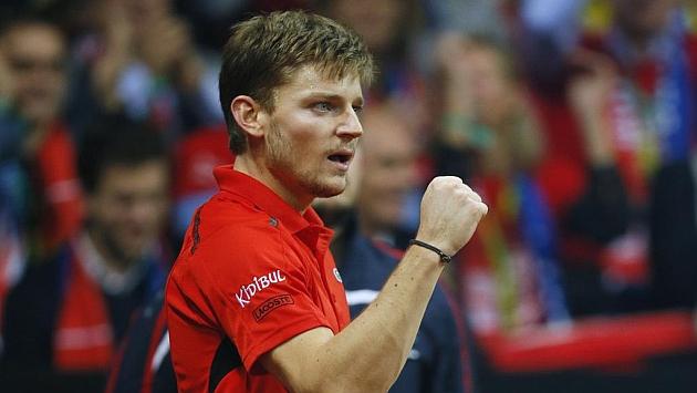 David Goffin celebra un punto en la final de la Copa Davis.