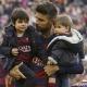 Piqué celebró sus 200 partidos en familia