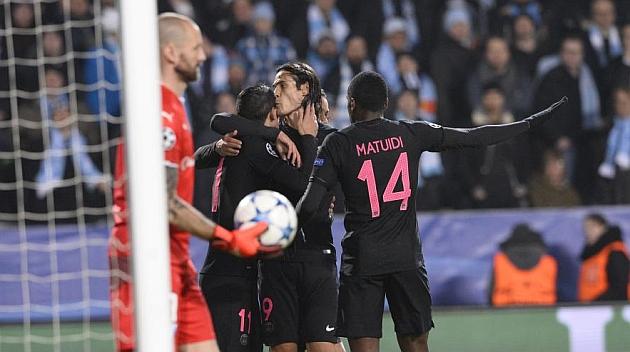 Di María, Matuidi y Cavani celebran un gol.
